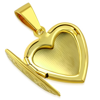 Stainless Steel Gold Color Flower Vine Love Heart Vintage Locket Charm Pendant with Chain