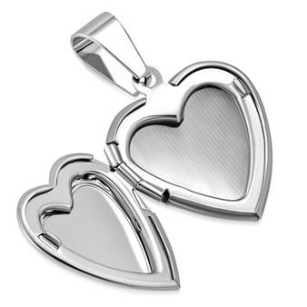 Stainless Steel Flower Vine Love Heart Vintage Locket Charm Pendant with Chain