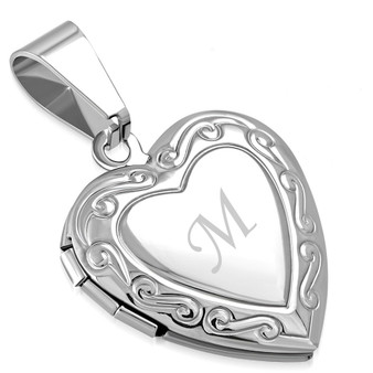 Stainless Steel Flower Vine Love Heart Vintage Locket Charm Pendant with Chain