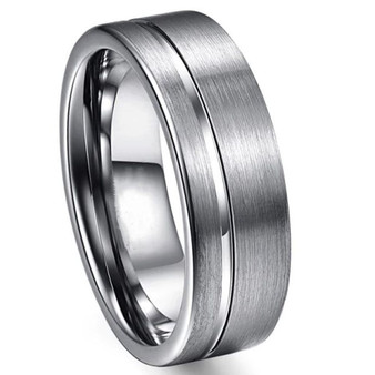 Personalized 8mm Stainless Steel Grooved Ring