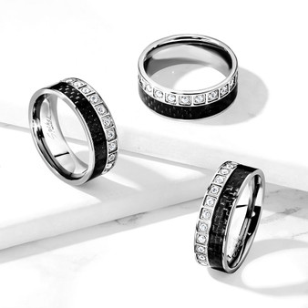 Personalized Stainless Steel Black Carbon Fiber Inlay Ring With CZ