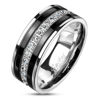 Personalized Stainless Steel Eternity Ring With Black IP Lines