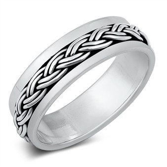 Personalized Sterling Silver Braided Spinner Ring