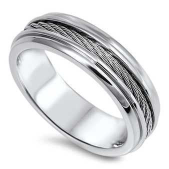 Personalized 7mm  Stainless Steel Ring With Wire