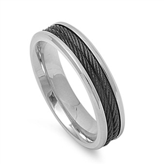 Personalized 6mm Two-Tone Stainless Steel Ring With Wire