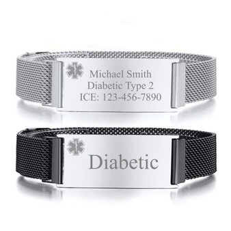 Personalized Quality Adjustable Stainless Steel Medical ID  Mesh Bracelet With Magnetic Clasp