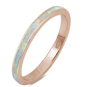 Personalized 3mm Sterling Silver Rose Gold Plated White Opal Ring