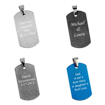 Personalized Quality Brushed Finish Tungsten Carbide Dog tag  Pendant