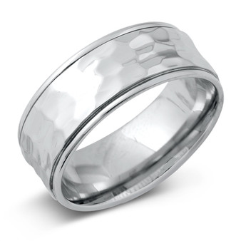 Personalized Stainless Steel 7mm Hammered Band Ring