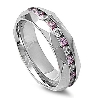 Personalized Stainless Steel Eternity Ring With Clear & Pink CZ