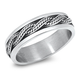 Personalized Stainless Steel Twist Band Ring