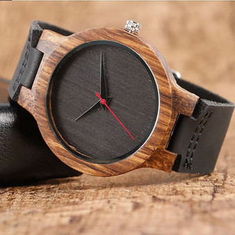 Personalized Natural  Bamboo Wood Watch with Genuine Black Leather
