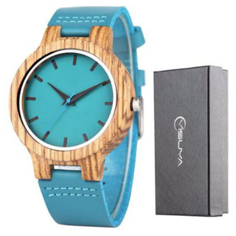 Personalized Bamboo Wood Watch with Genuine Royal Blue Leather Band