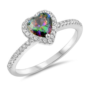 Personalized Sterling Silver Rainbow Topaz Heart & CZ Ring