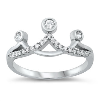 Personalized Sterling Silver Crown Ring with CZ