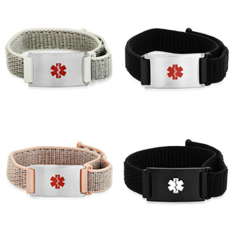 Personalized Quality Medical ID Bracelet With Adjustable Lightweight Nylon Strap