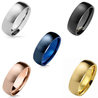 Personalized Quality 6mm Matte Finish Surface Classic Dome Stainless Steel Ring