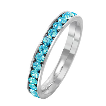 Quality Stainless Steel With Aquamarine  Crystal Eternity Ring