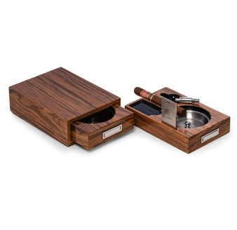 """Bey-Berk Lacquered """"Olive Wood"""" Cigar Ashtray, with Cutter and Punch"""