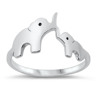 Quality Sterling Silver Mother & Baby Elephant Ring