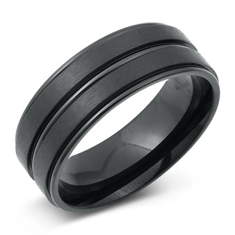 Personalized Quality Stainless Steel  7.5mm Grooved Line Center Ring