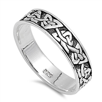 Personalized .925 Sterling Silver Celtic Knot Band Ring
