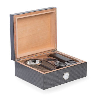 "Bey-Berk 6 Piece ""Carbon Fiber"" Design Humidor Set"
