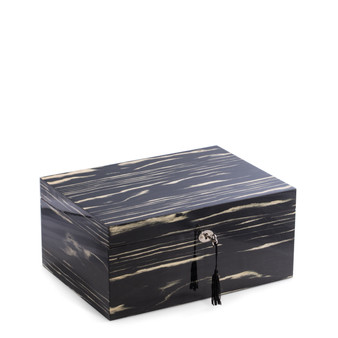 """Bey- Berk Lacquered """"Ebony"""" Wood 100 Cigar Humidor with Removable Tray"""