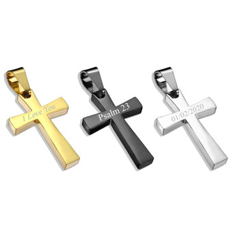 Personalized Quality Stainless Steel  Latin Cross Pendant with Chain
