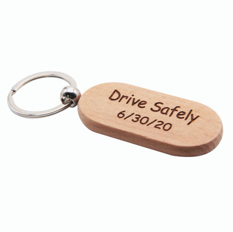Engraved wood keychain