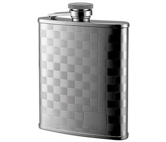 Checkered Pattern Stainless Steel Flask