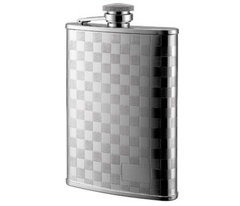 Personalized 6 oz. Checkered Pattern Stainless Steel Flask