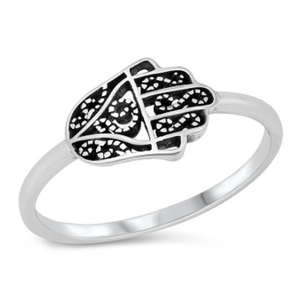Personalized 925 Sterling Silver Sideways Hamsa Ring