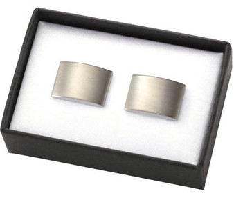 Personalized Brushed Silver Rectangular Brass Cuff Links