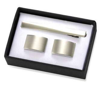 Brushed Silver Rectangular Brass Cuff Links with Matching Tie Bar