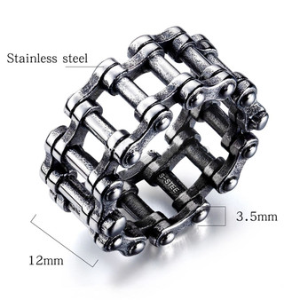 Quality Stainless Steel 12mm Vintage Biker Chain Ring