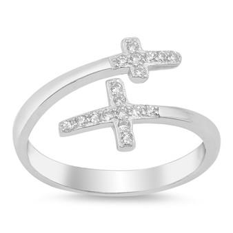 Silver Ring W/ CZ - Double Cross