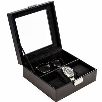 Personalized Black Leather Watch and Accessory Case with Glass Top