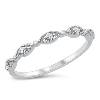 Personalized 925 Sterling Silver Ring - Clear CZ