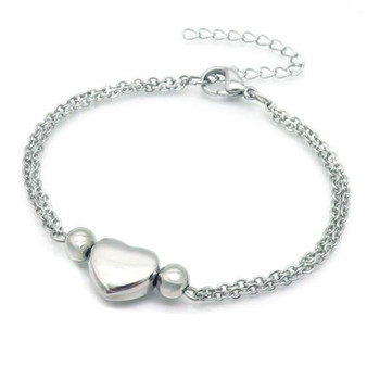 Personalized Stainless Steel Double Chain Heart Charm Bracelet