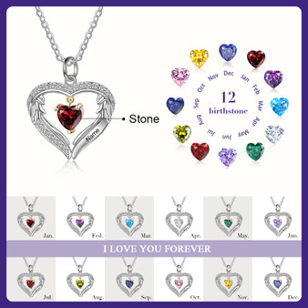 Personalized 925 Genuine Sterling Silver One Heart Birthstone Necklace