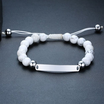 Personalized Quality 8mm Beads Stainless Steel ID Bracelet