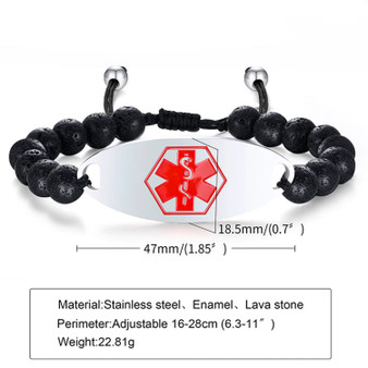 Personalized Beaded and Stainless Medical ID Bracelet