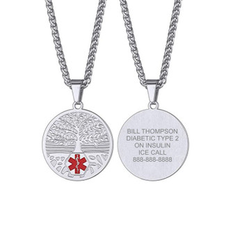 Personalized Quality Stainless Steel Tree of Love Medical ID Pendant Necklace