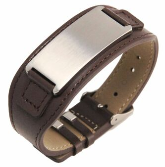 Quality Stainless Steel with Brown Leatherette Bracelet