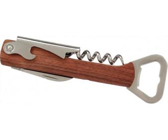 5 1/4 Inch Wooden Can Opener & Wine Corkscrew