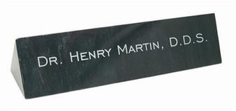 Black Marble Desk Name Bar