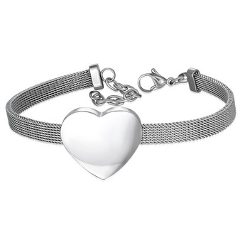 Personalized Stainless Steel Love Heart Mesh Bracelet