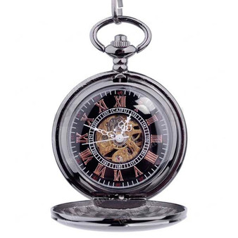 Personalized Quality Ice Black Mechanical Pocket Watch