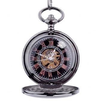 Personalized Quality Ice Black Mechanical Pocket Watch